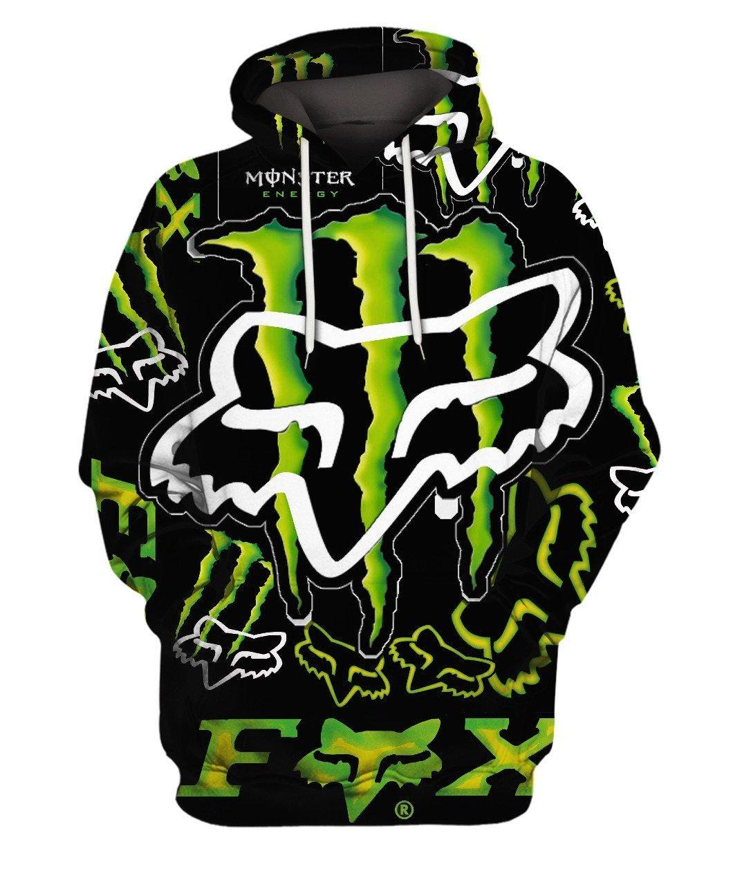 Fox Monster Energy Green 3d Full Print Hoodie 3d Graphic Printed Tshirt Hoodie Up To 5xl