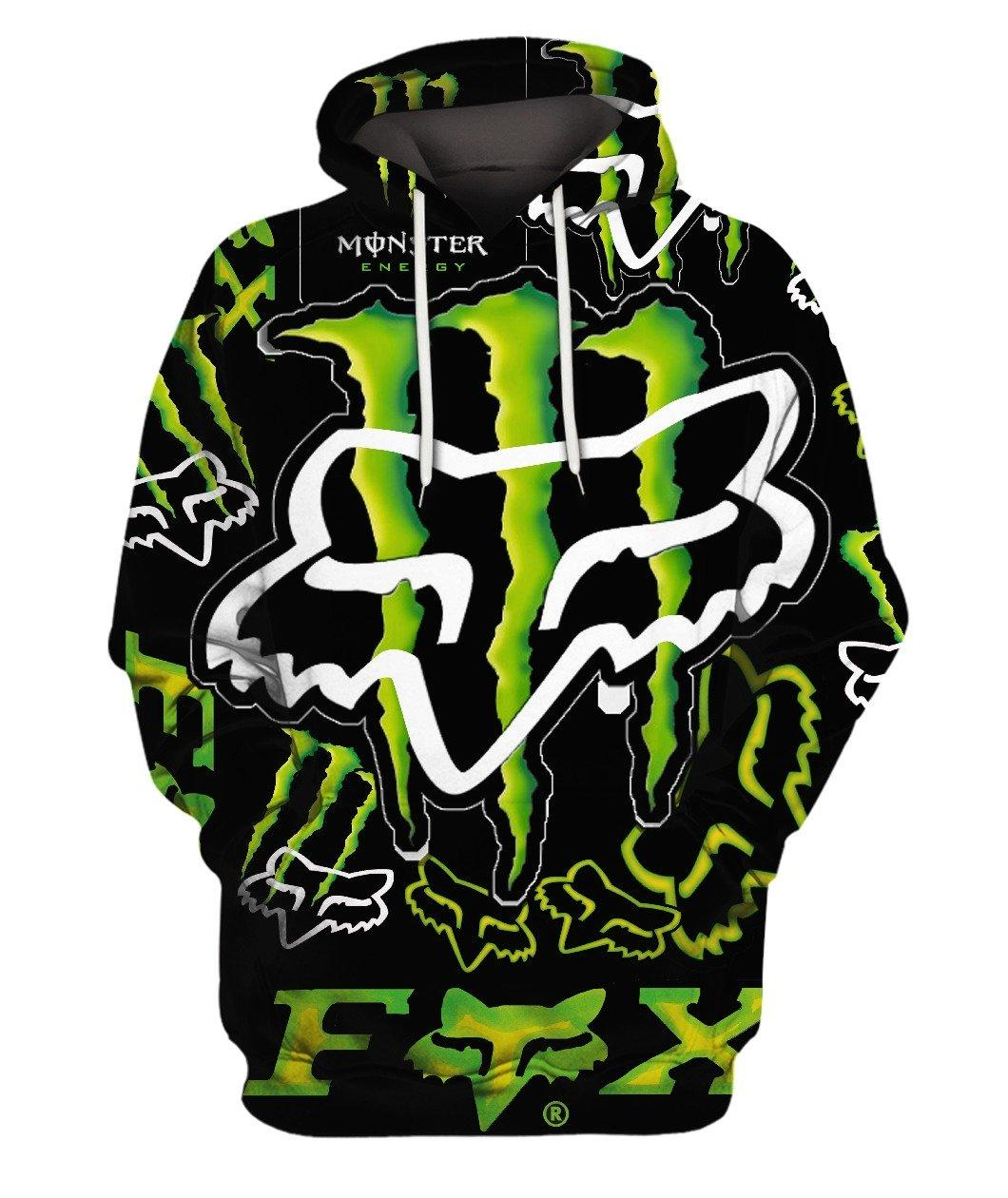 Fox Monster Energy Green 3d Full Print 3d Graphic Printed Tshirt Hoodie Up To 5xl