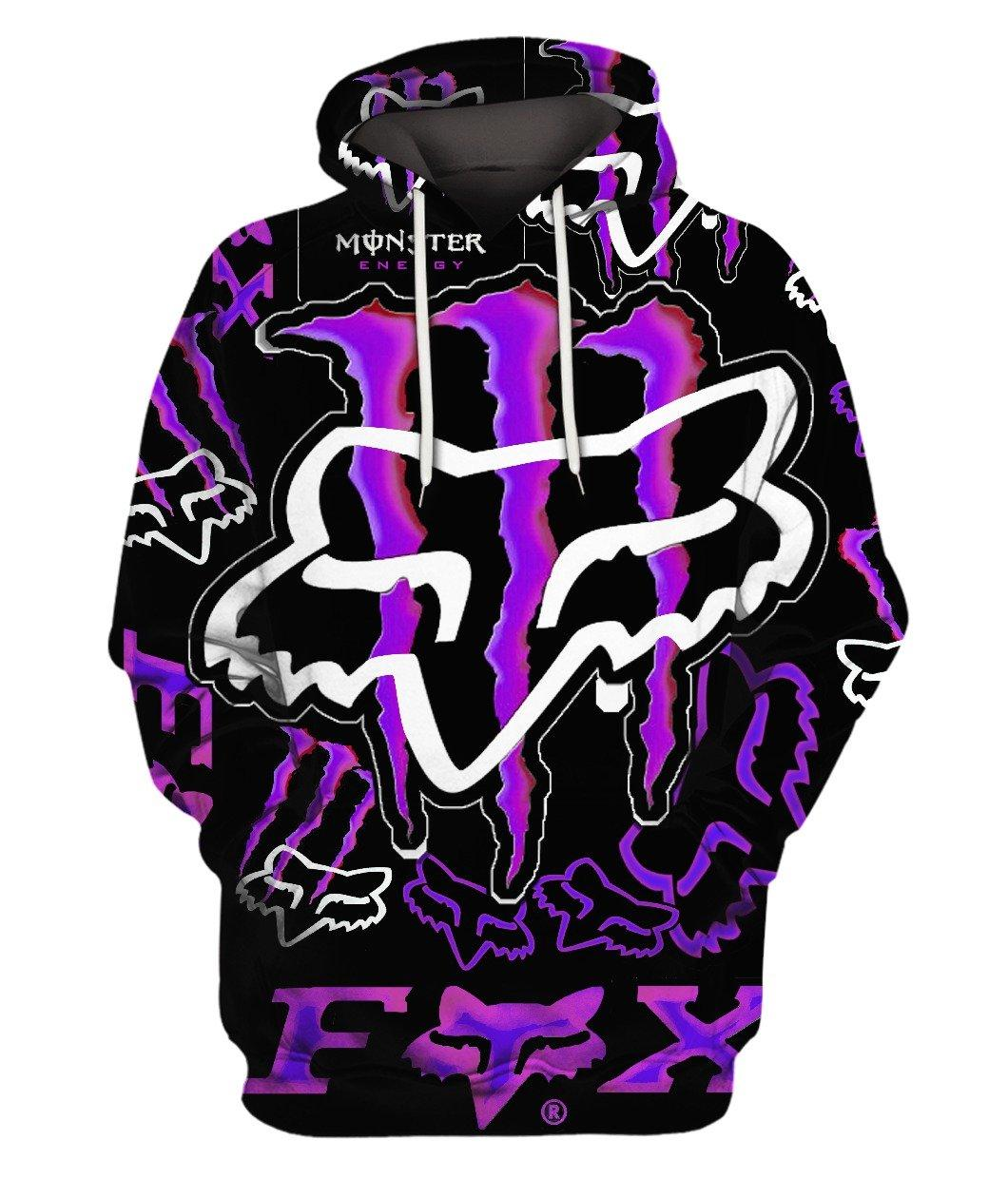 Fox Monster Energy Purple 3d Full Print 3d Graphic Printed Tshirt Hoodie Up To 5xl