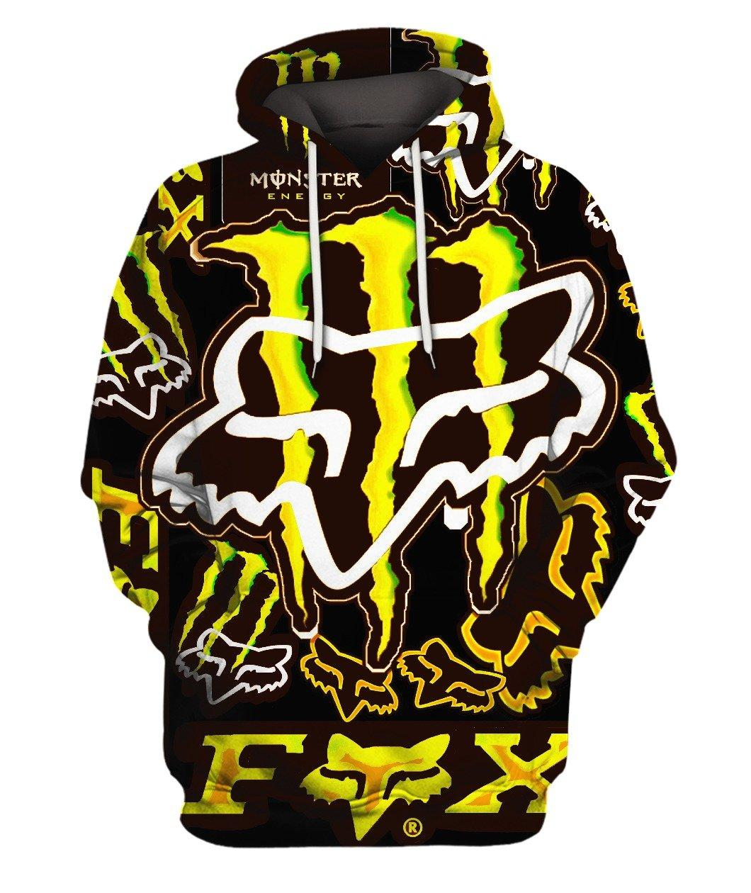 Fox Monster Energy Yellow 3d Full Print 3d Graphic Printed Tshirt Hoodie Up To 5xl