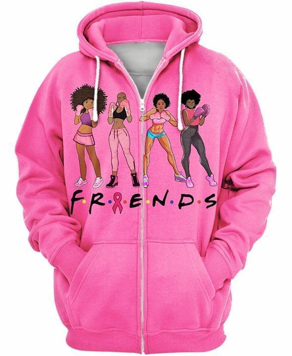 Friends Br East Cancer Fighting Girl 3d Zip Hoodie 3d Graphic Printed Tshirt Hoodie Up To 5xl