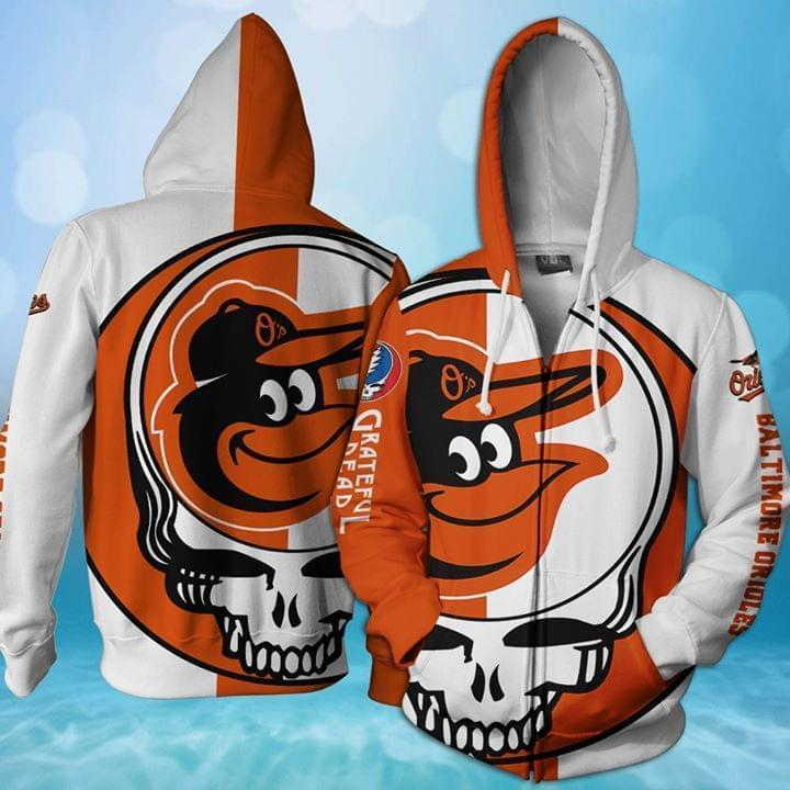 Grateful Dead Baltimore Orioles Bolt Skull 3d Printed Zip Hoodie 3d 3d Graphic Printed Tshirt Hoodie Up To 5xl