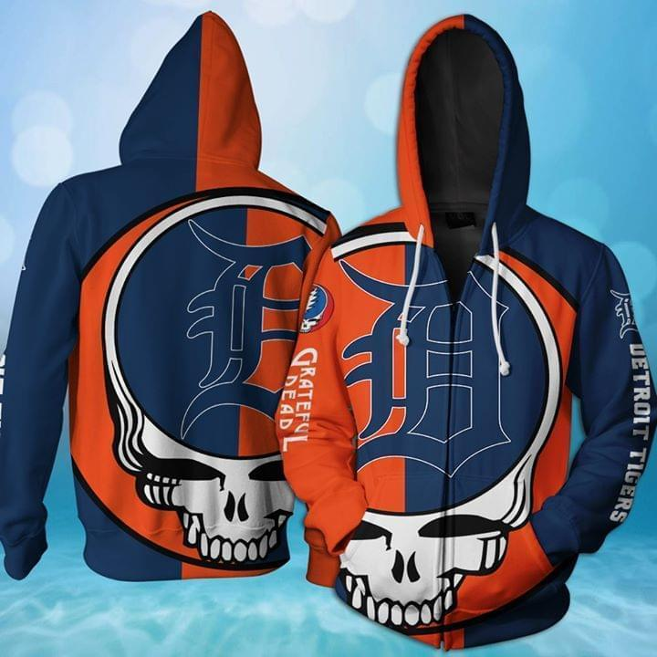 Grateful Dead Detroit Tigers Bolt Skull 3d Printed Zip Hoodie 3d 3d Graphic Printed Tshirt Hoodie Up To 5xl