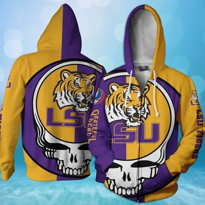 Grateful Dead Lsu Tigers Bolt Skull 3d Printed Zip Hoodie 3d 3d Graphic Printed Tshirt Hoodie Up To 5xl