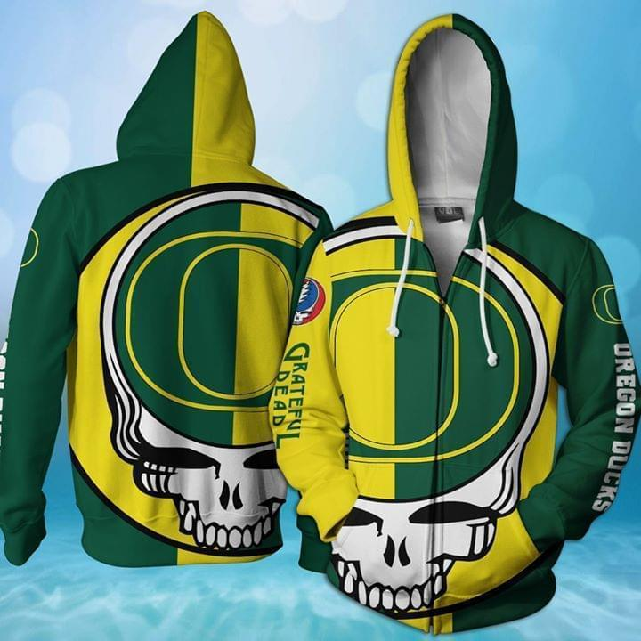 Grateful Dead Oregon Ducks Bolt Skull 3d Printed Zip Hoodie 3d 3d Graphic Printed Tshirt Hoodie Up To 5xl