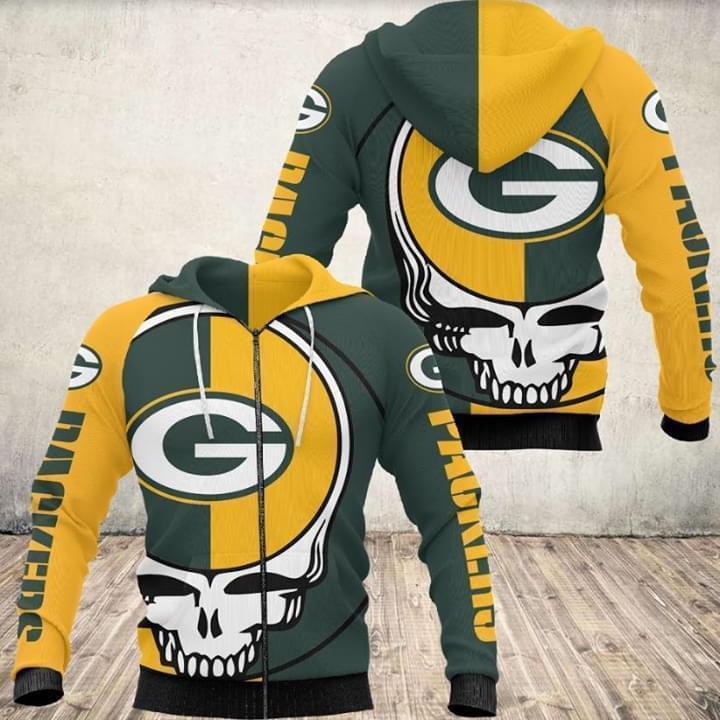 Grateful Dead Skull Green Bay Packers 3d Printed Zip Hoodie 3d 3d Graphic Printed Tshirt Hoodie Up To 5xl