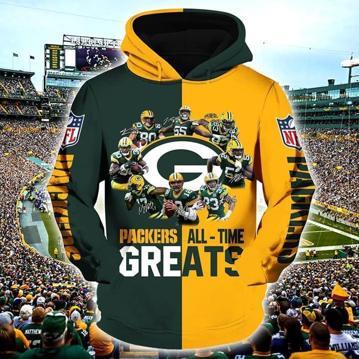 Green Bay Packers All Time Greats Players Signatures 3d Printed Hoodie 3d 3d Graphic Printed Tshirt Hoodie Up To 5xl