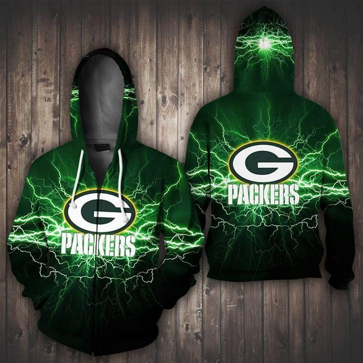 Green Bay Packers Lightning Green 3d Zip Hoodie 3d Graphic Printed Tshirt Hoodie Up To 5xl