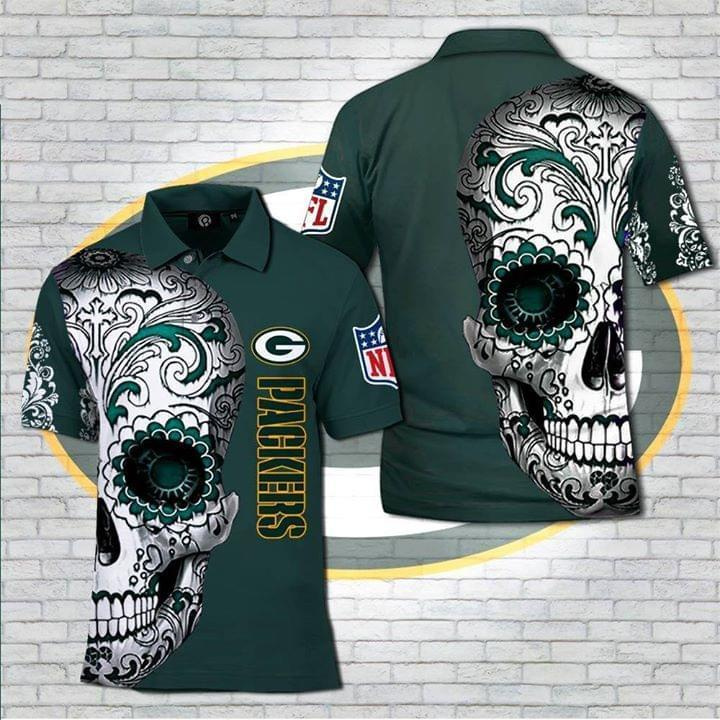 Green Bay Packers Nlf Sugar Skull Polo 3d Printed Polo 3d Graphic Printed Tshirt Hoodie Up To 5xl
