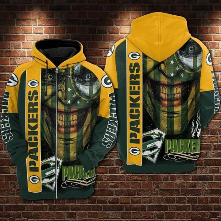 Green Bay Packers Superman Logo 3d Printed Zip Hoodie 3d Graphic Printed Tshirt Hoodie Up To 5xl