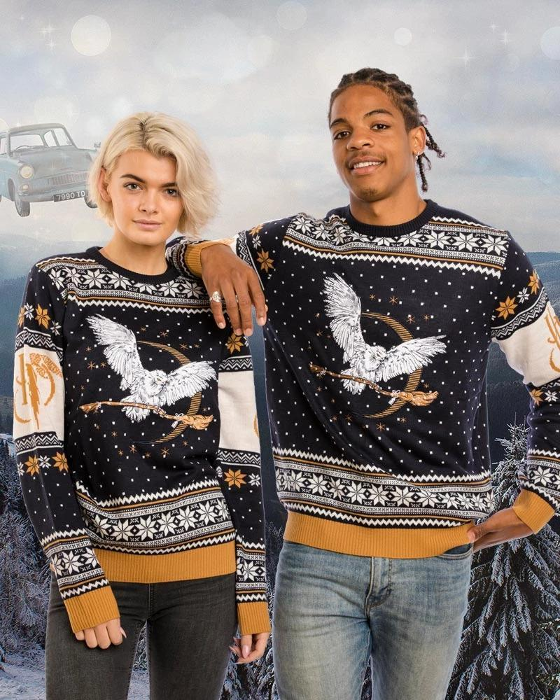 Harry Potter Hedwig Brings Magic Broomstick Christmas Knitting Pattern 3d Sweatshirt Sweatshirt 3d 3d Graphic Printed Tshirt Hoodie Up To 5xl