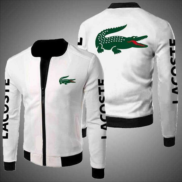 Lacoste Logo White Bomber Jacket For Men 3d Graphic Printed Tshirt Hoodie Up To 5xl