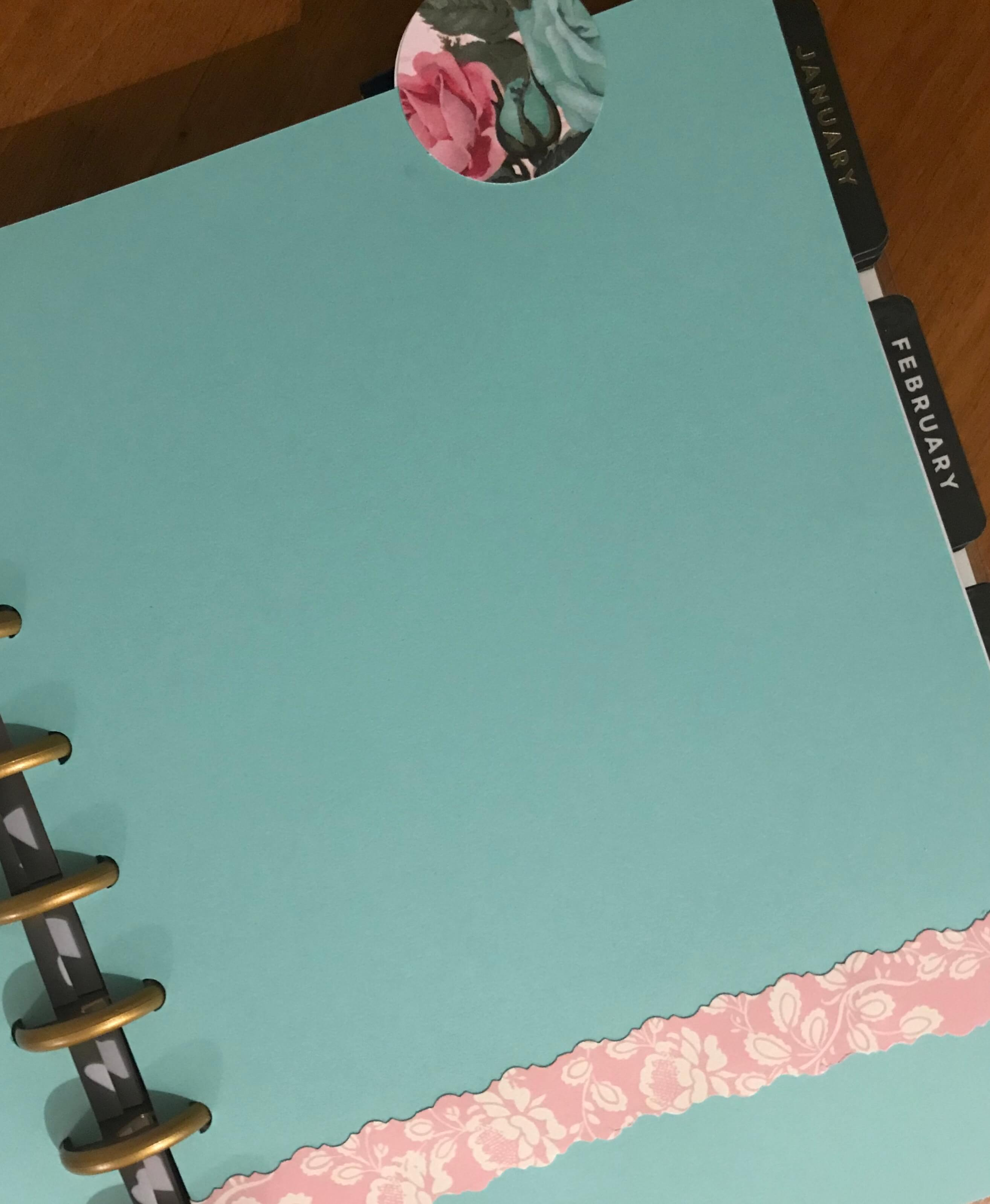Teal Happy Planner dashboard insert with pink floral trim and a floral top tab