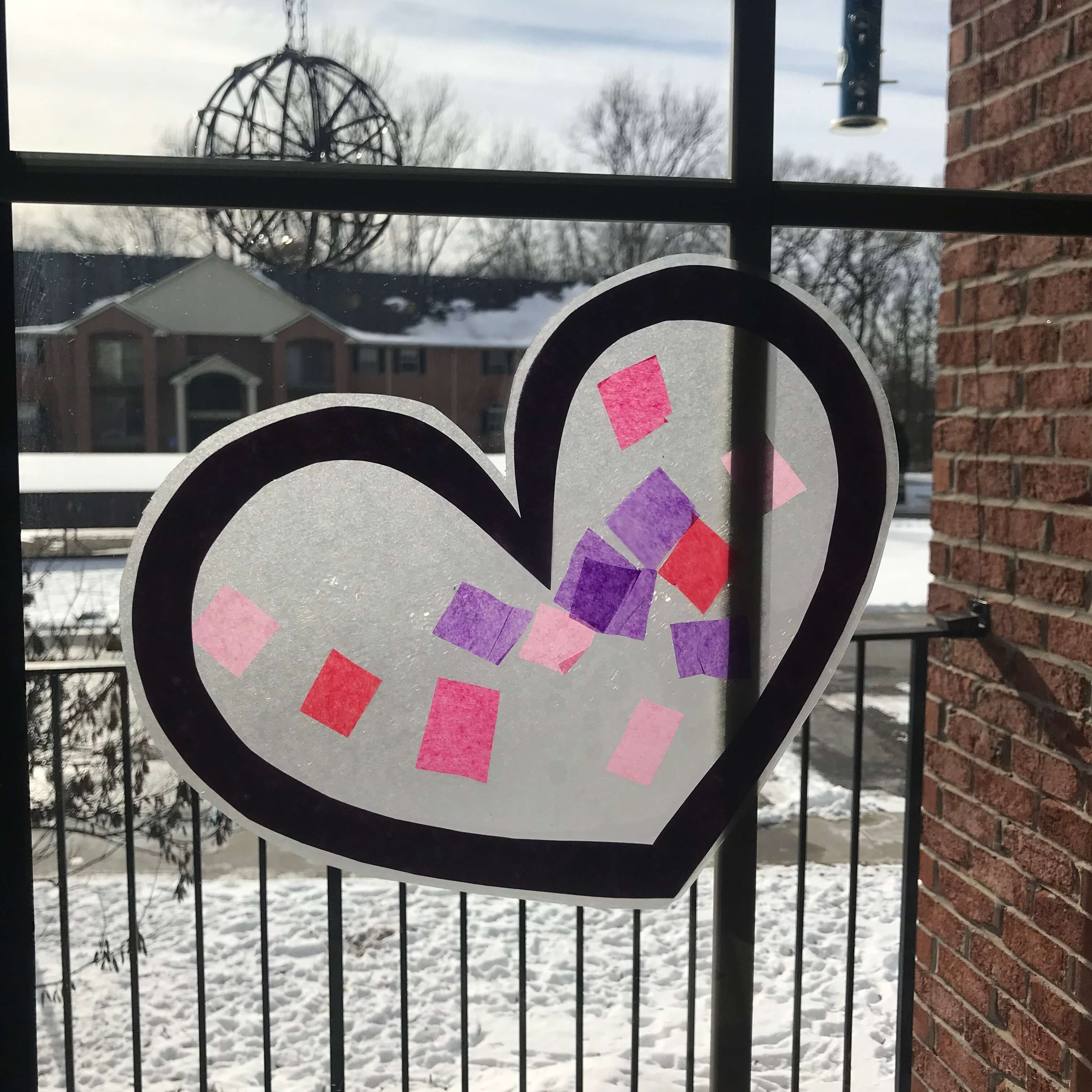 Completed Valentine's Craft - Stained Glass Heart