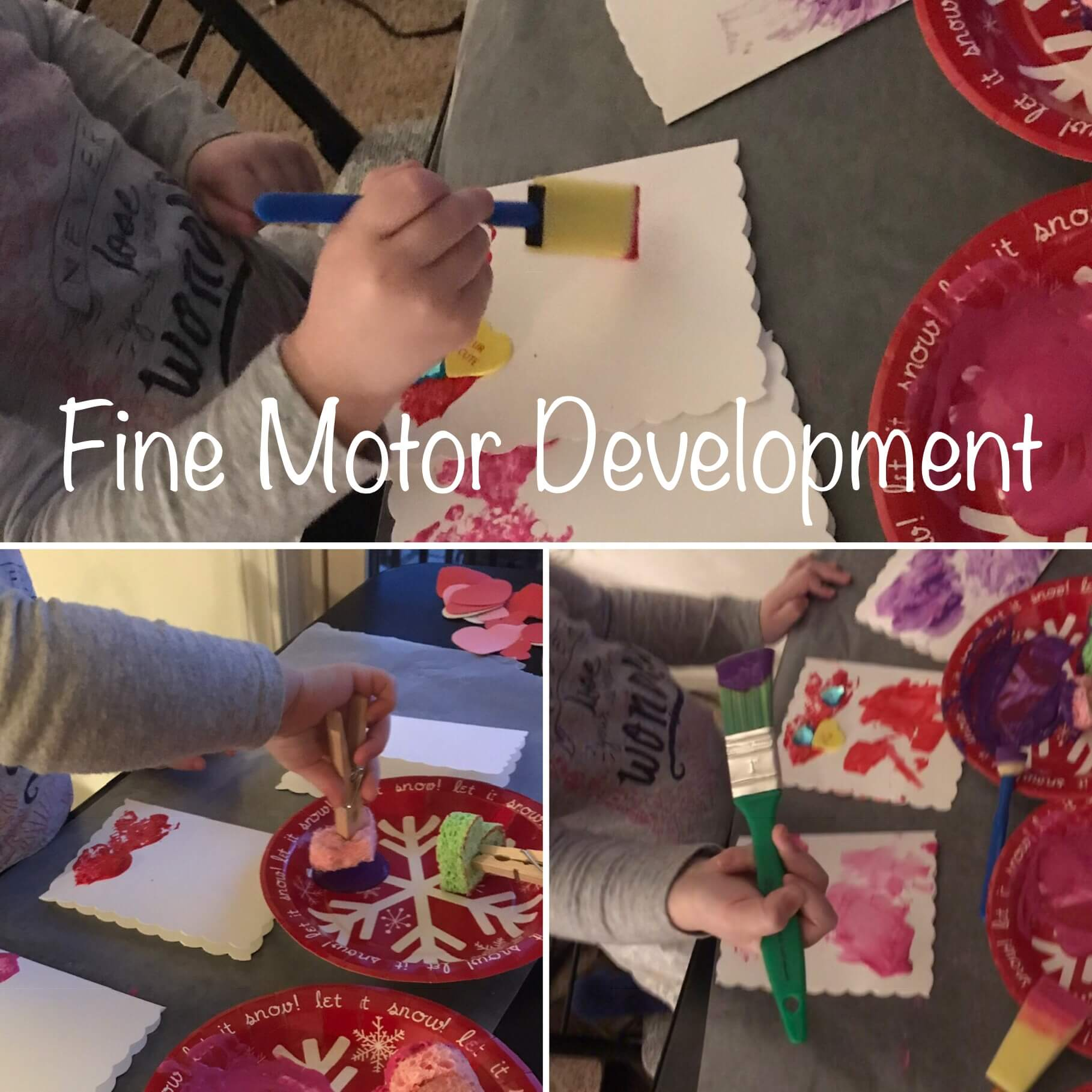 Toddler painting Valentine's Card Craft with a variety of brushes and sponges