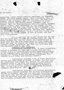 Page from Hurwitz's FBI file,
