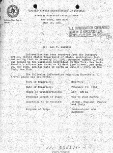 Page from Hurwitz's FBI file