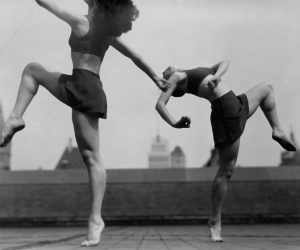 Two dancers on rooftop