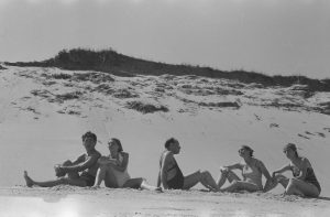 Group of young adults on beach