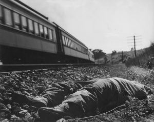 Dead body by a railroad track