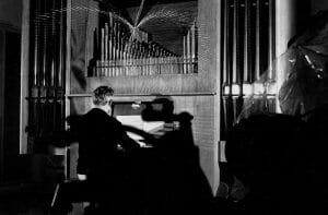 Man plays organ