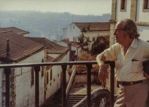 Man in profile on balcony