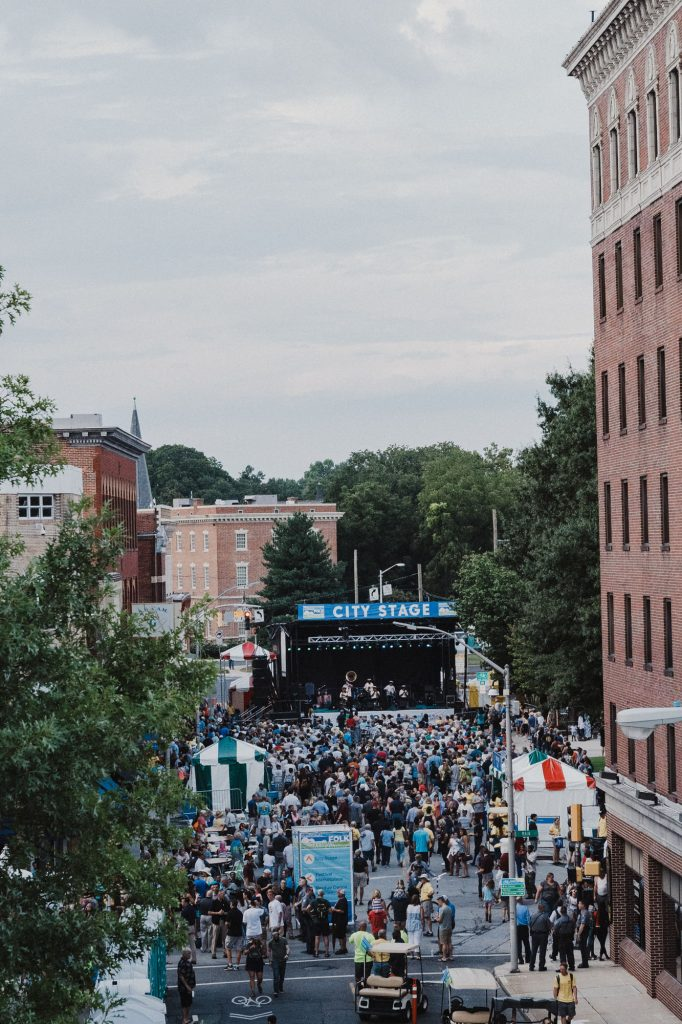 Crowd shot of opening at 2018 National Folk Festival led by Treme Brass Brand