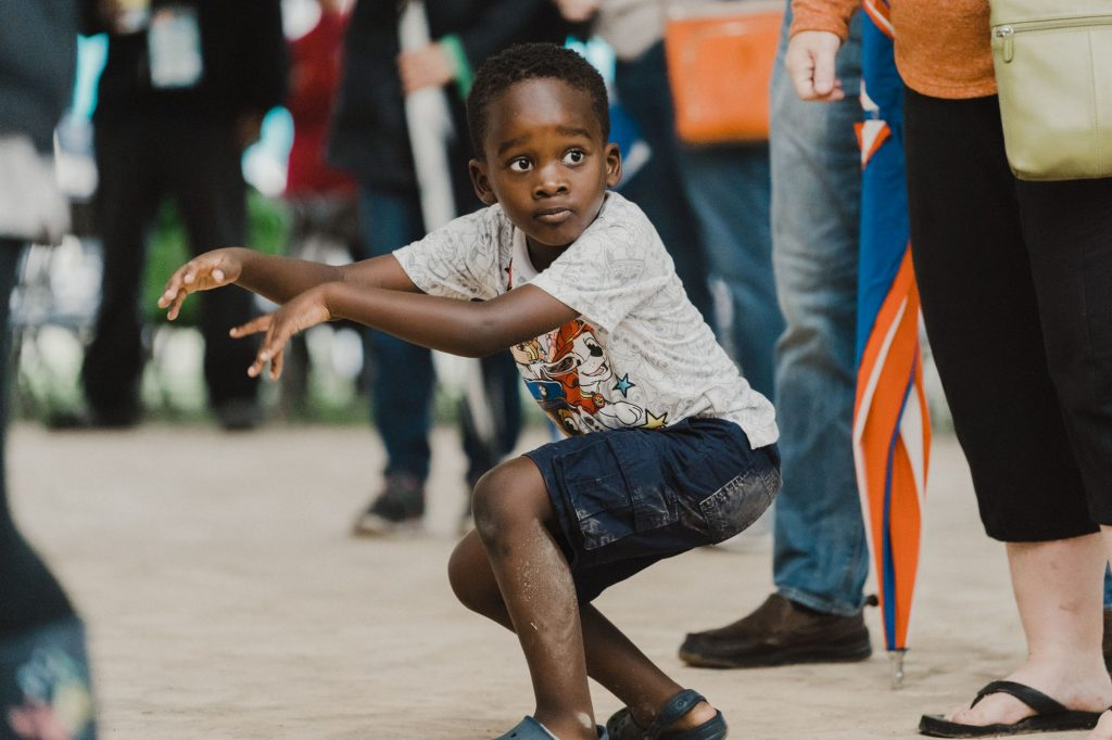 Kid dancing at the 2018 National Folk Festival - Picture By Chris Mcintosh