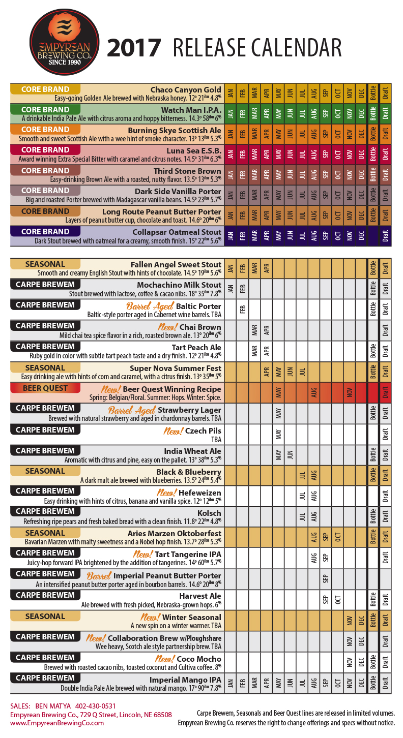 2017 Empyrean Brewing Beer Release Calendar