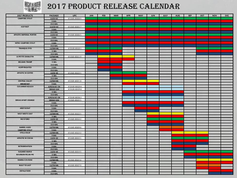 2017 Highwater Brewing Beer Release Calendar