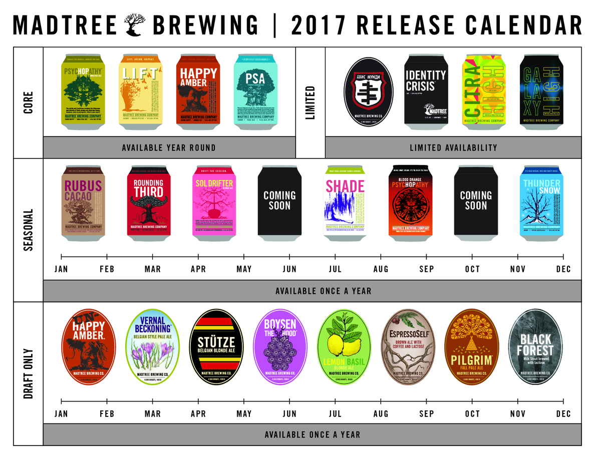 2017 MadTree Brewing Beer Release Calendar