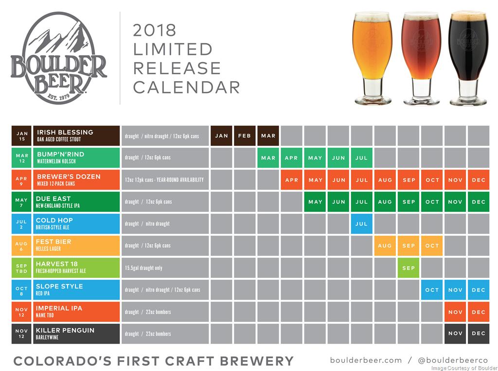 2018 Boulder Beer Release Calendar