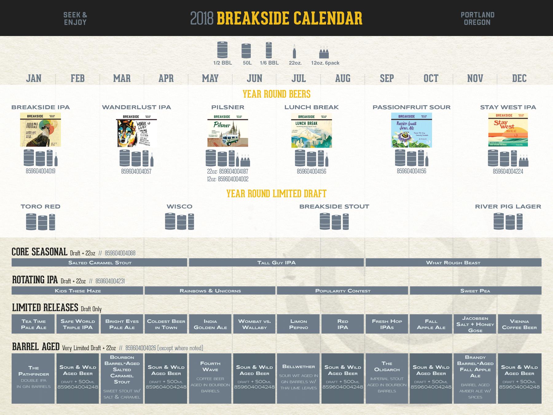 2018 Breakside Brewing Beer Release Calendar