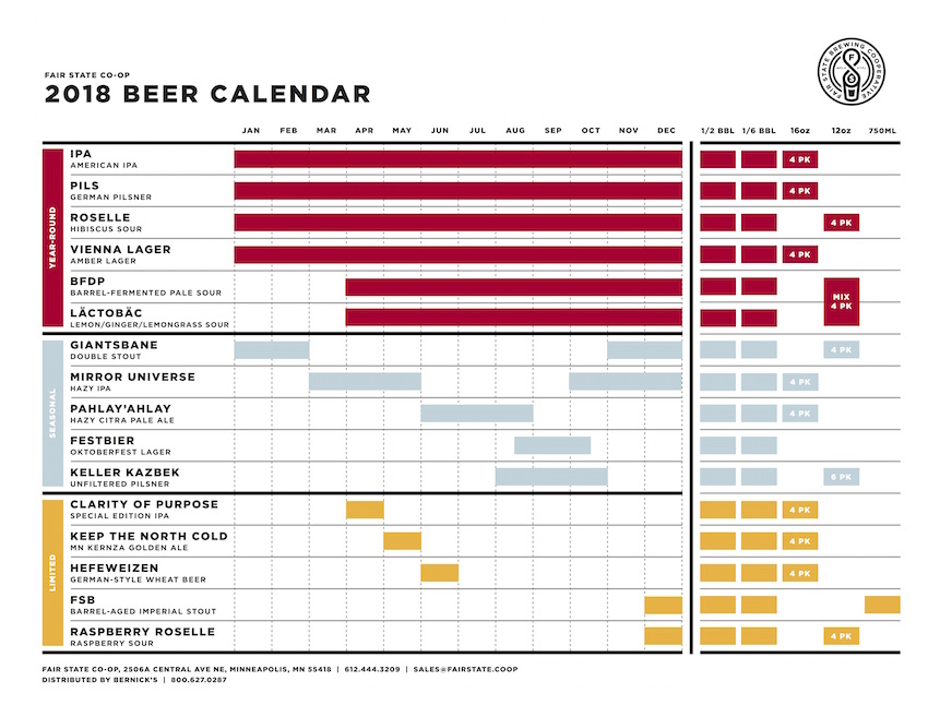 2018 Fair State Brewing Beer Release Calendar