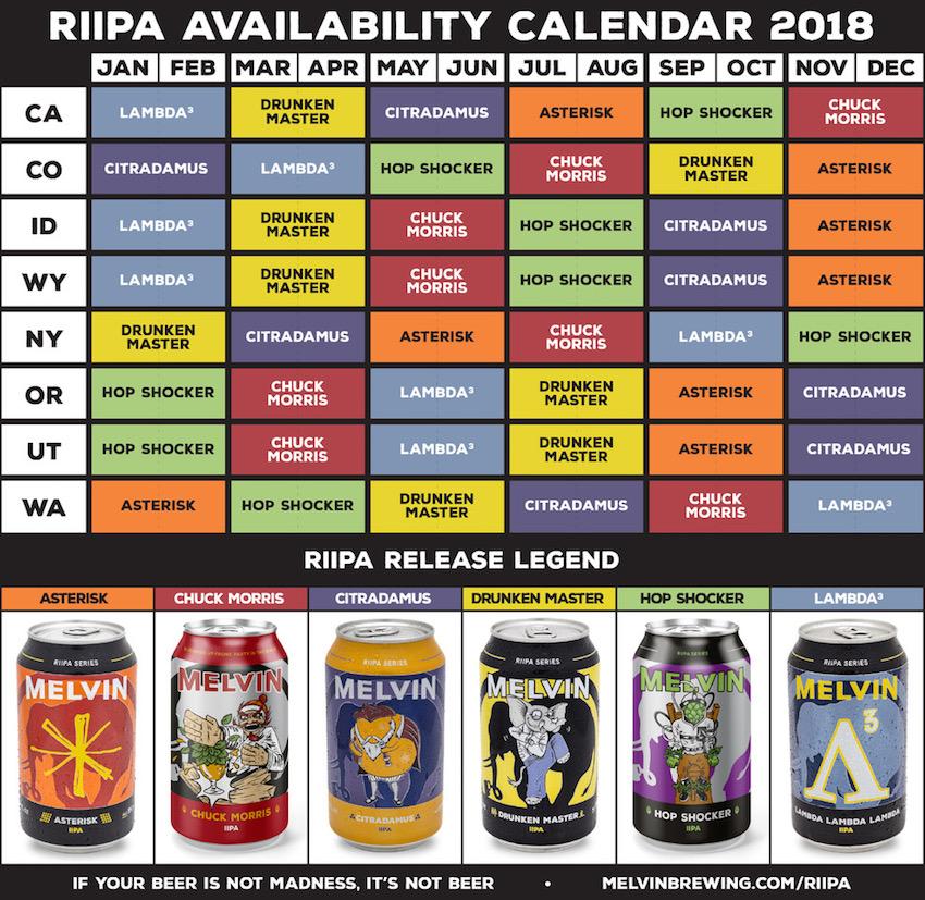 2018 Melvin Brewing Beer Release Calendar