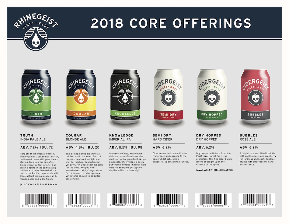 2018 Rhinegeist Brewing Beer Release Calendar Core
