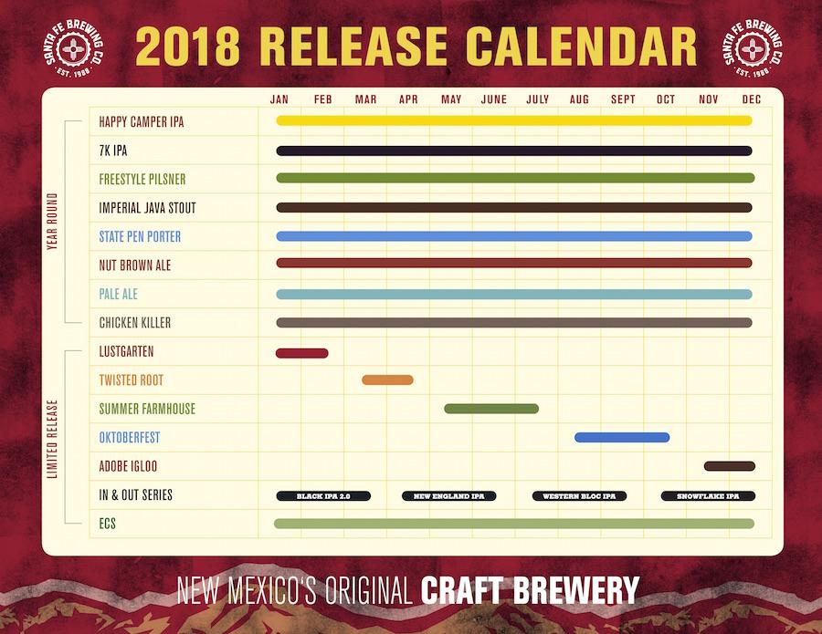 2018 Santa Fe Brewing Beer Release Calendar
