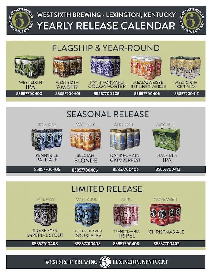 2018 West Sixth Brewing Beer Release Calendar