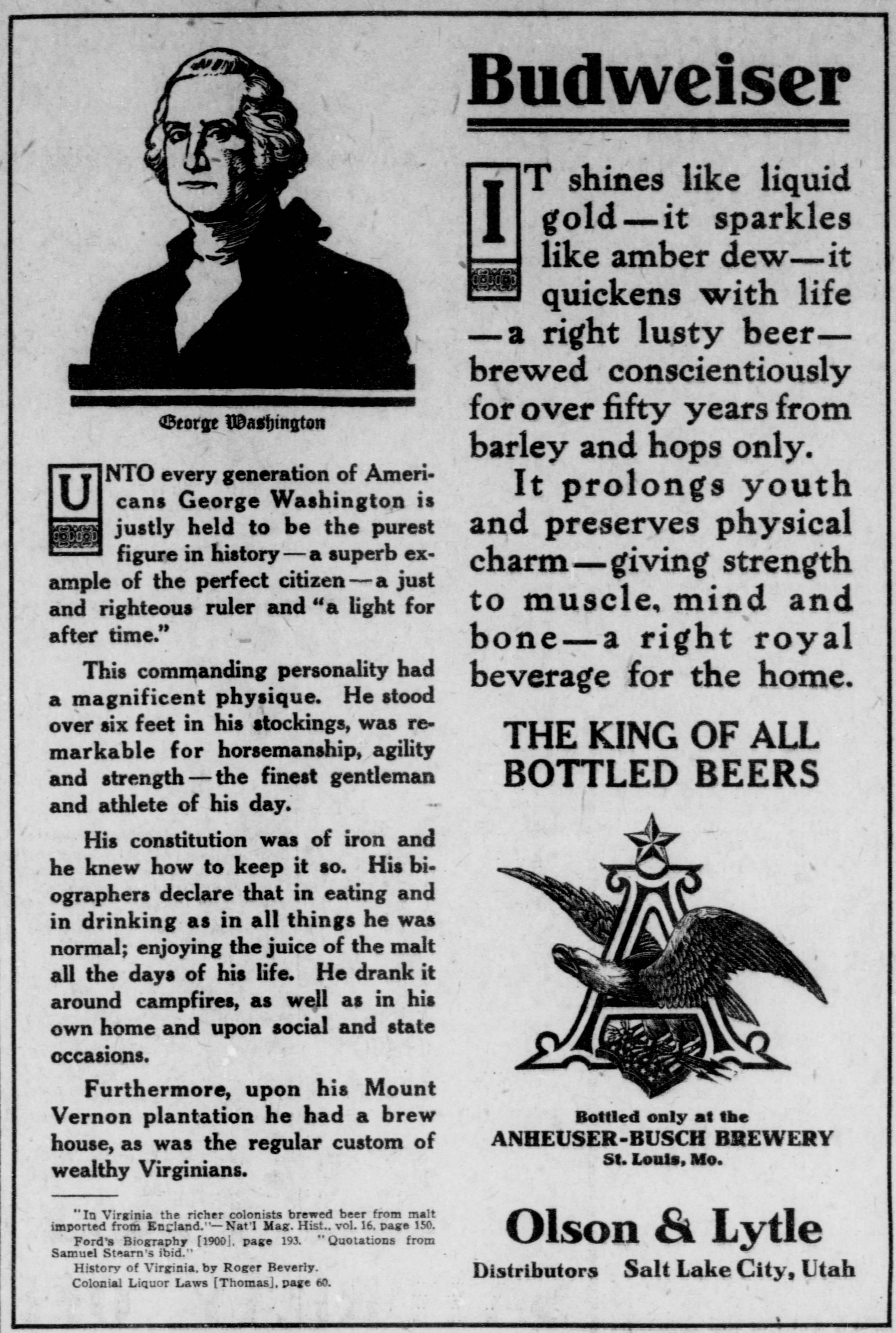 President's Day Budweiser Ad George Washington