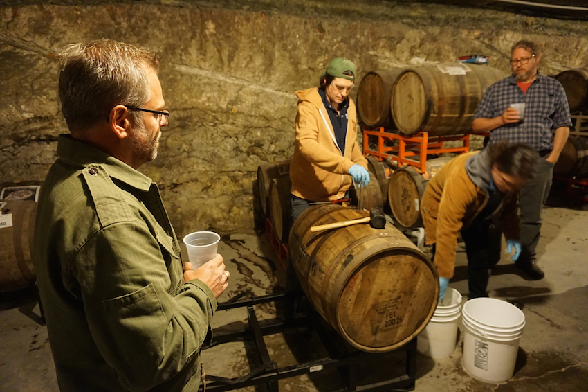 Founders' Mike Stevens and Dave Engbergs at Founders Barrel Aging Caves