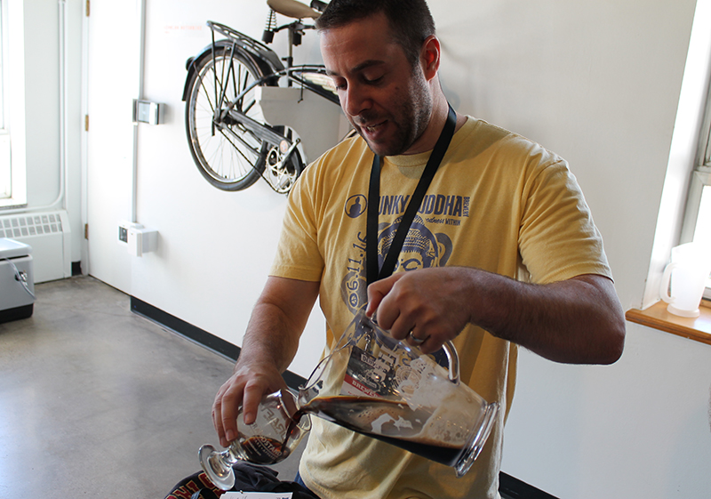 Ross Appel pouring Aged ChocWork Orange (photo courtesy of Cory Pelc)