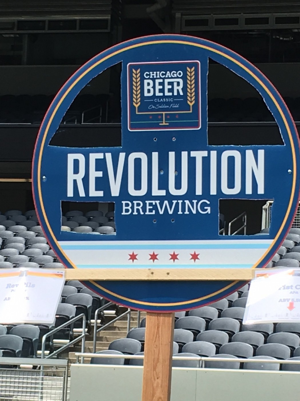 Breweries had to get creative to make sure their signs didn't blow over in the strong winds.
