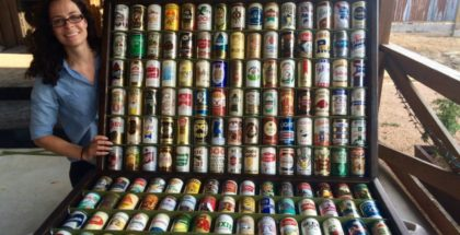 Two modular display walls made out of cans from the 60s and 70s, built by Virginia and her father, Matt McBrayer. Photo Credit: Matt & Stephanie McBrayer