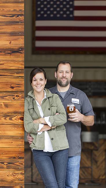 Meredith Sutton and Kevin Ryan at Service Brewing Co. in Savannah, Georgia. (Credit: Adam Kuehl)