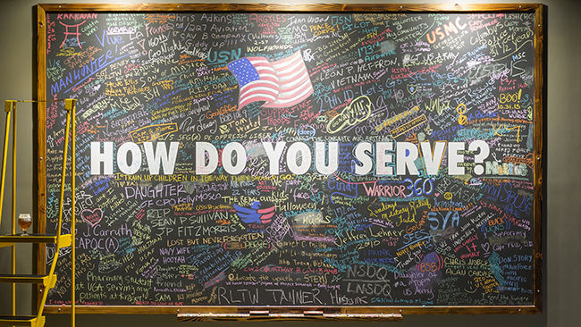 The service board at Service Brewing Co. In Savannah, Georgia. (Credit: Adam Kuehl)