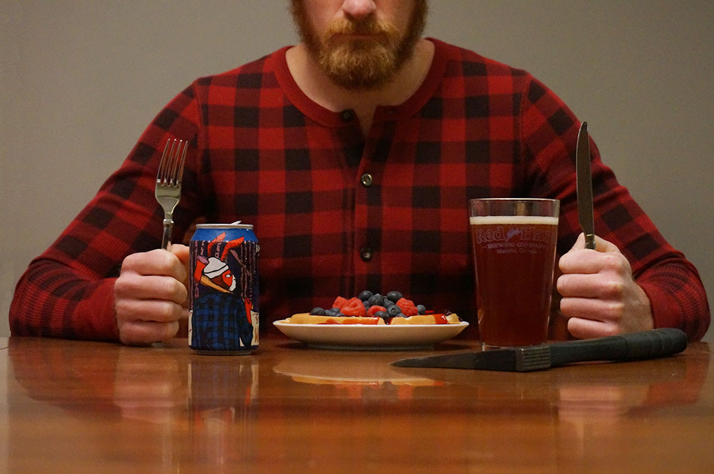 red hare brewing berry belgian waffle ready to eat sit down mountain logger lumberjack
