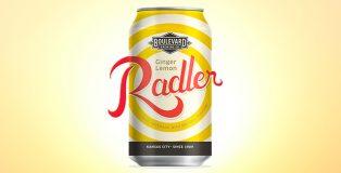 boulevard brewing ginger lemon railer can against sun drenched sky