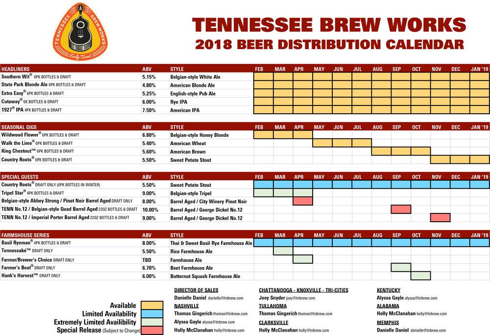 2018 Tennessee Brew Works Beer Release Calendar