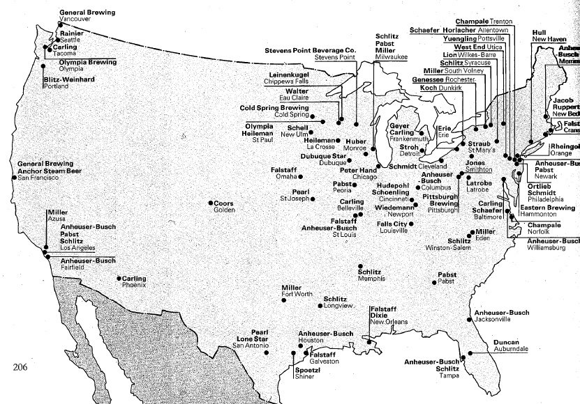 1977 Map of Breweries in United States