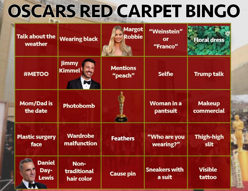 2018 Oscars Red Carpet Bingo